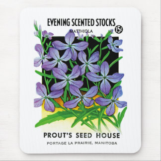 Evening Scented Stocks Seed Packet Label Mouse Pad