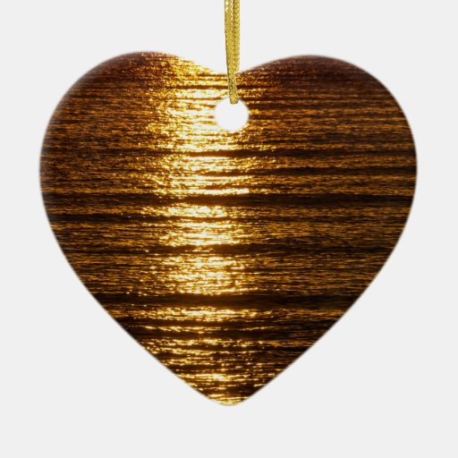 Evening sea Double-Sided heart ceramic christmas ornament