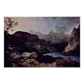 Evening Seascape With Cumberland By Loutherbourg Print