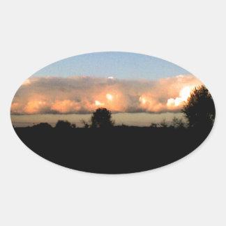 Evening Shelf Cloud Oval Sticker