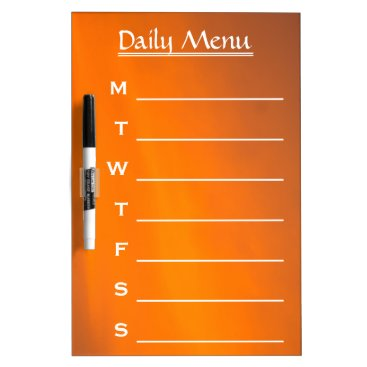 Professional Business Evening Sky Orange Color Daily Menu Weekly Menu Dry-Erase Board