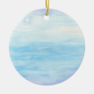 Evening Sky Over Alki Beach Round Ceramic Ornament
