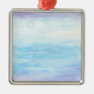 Evening Sky Over Alki Beach Silver-Colored Square Ornament