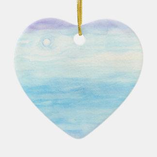 Evening Sky Over Alki Beach Ceramic Heart Ornament