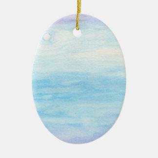 Evening Sky Over Alki Beach Ceramic Oval Ornament