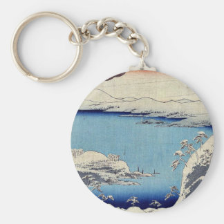Evening snow at Hira by Ando, Hiroshige Ukiyoe Basic Round Button Keychain
