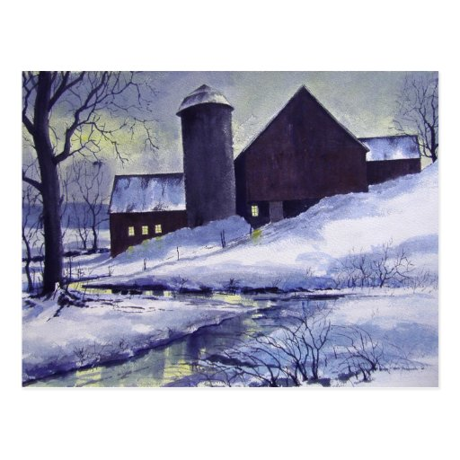 Evening Snow Barn- postcard