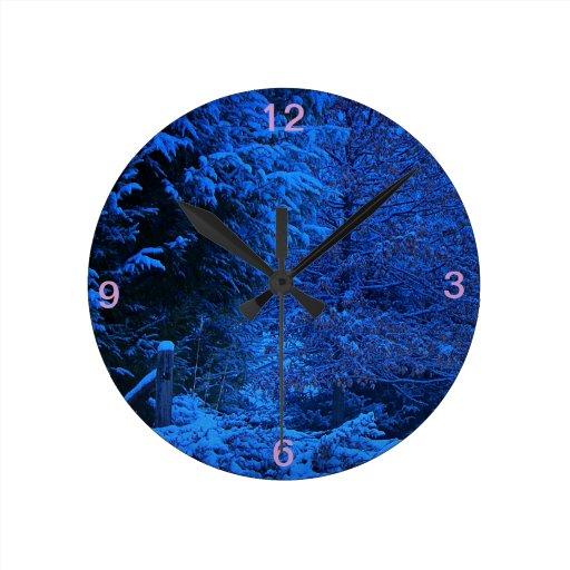 Evening Snow Round Wall Clock