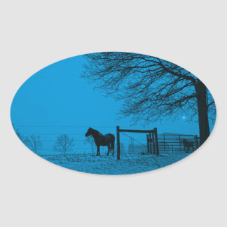 Evening Snow Squall Oval Sticker