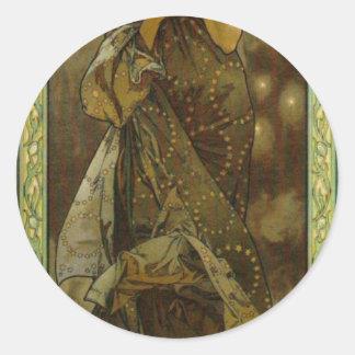 Evening Star by Alphonse Mucha Classic Round Sticker