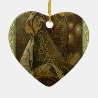 Evening Star by Alphonse Mucha Double-Sided Heart Ceramic Christmas Ornament