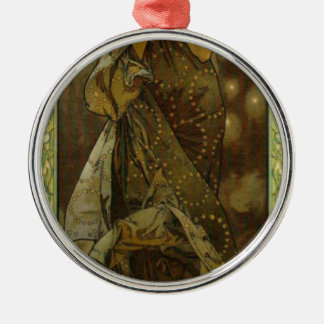 Evening Star by Alphonse Mucha Round Metal Christmas Ornament
