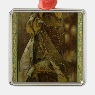 Evening Star by Alphonse Mucha Square Metal Christmas Ornament