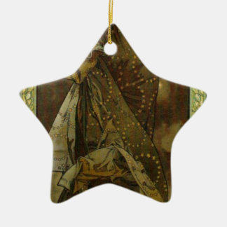 Evening Star by Alphonse Mucha Double-Sided Star Ceramic Christmas Ornament