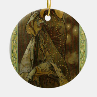 Evening Star by Alphonse Mucha Double-Sided Ceramic Round Christmas Ornament