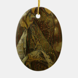 Evening Star by Alphonse Mucha Double-Sided Oval Ceramic Christmas Ornament