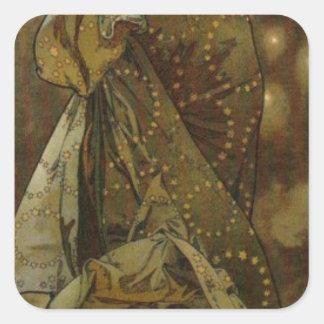 Evening Star by Alphonse Mucha Square Sticker