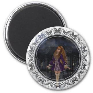 Evening Stroll Gothic Fantasy Redhead Girl 2 Inch Round Magnet