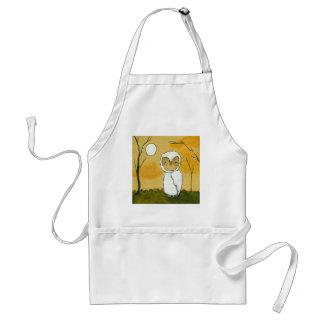 Evening Stroll, Whimsical Woodland White Owl Art Apron