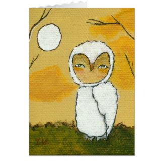Evening Stroll, Whimsical Woodland White Owl Art Card