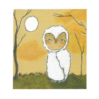Evening Stroll, Whimsical Woodland White Owl Art Note Pad