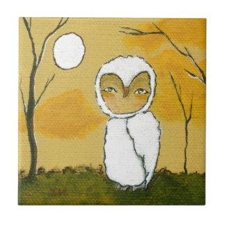 Evening Stroll, Whimsical Woodland White Owl Art Small Square Tile
