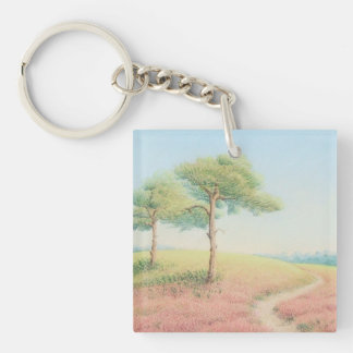 Evening Sun New Forest Pine Trees Acrylic Key Ring Double-Sided Square Acrylic Keychain