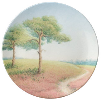 Evening Sun, New Forest Pine Trees Porcelain Plate