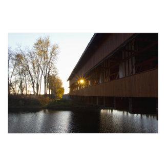 Evening Sun shining through the Buck Run Bridge Photo Print