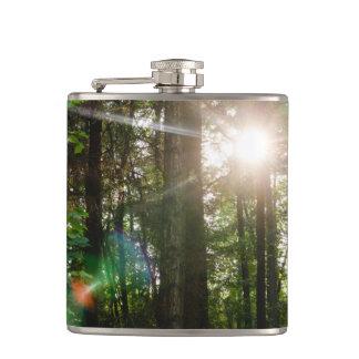 Evening Sunlight In A Forest Landscape Hip Flask