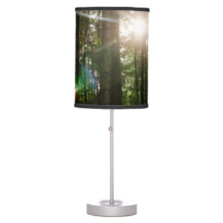 Evening Sunlight In A Forest Landscape Table Lamp