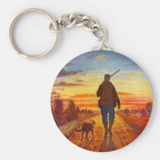 Evening Sunset Hunting Dog Best Buddies KEY CHAIN