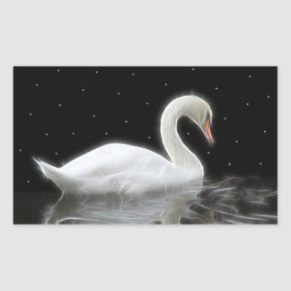 Evening Swan Rectangular Sticker