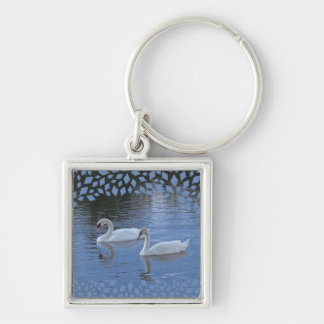Evening Swans Keychain