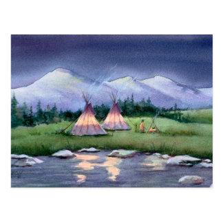 EVENING TIPI CAMP by SHARON SHARPE Postcard