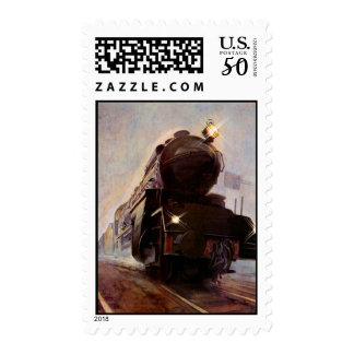 Evening Train ~ Lights On in Hazy Mist RR Stamps