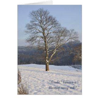 Evening tree Veselé Vánoce! Card