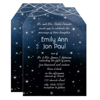 Evening Under the Stars Wedding Card