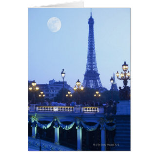 Evening View of Eiffel Tower Greeting Card