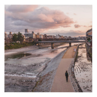 Evening walk along the Kamo River in Kyoto Panel Wall Art