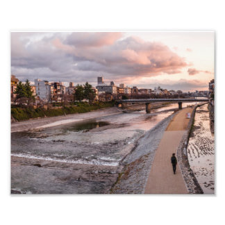 Evening walk along the Kamo River in Kyoto Photo Print