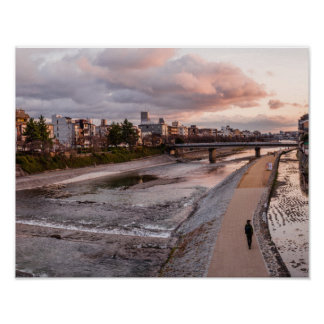 Evening walk along the Kamo River in Kyoto Poster