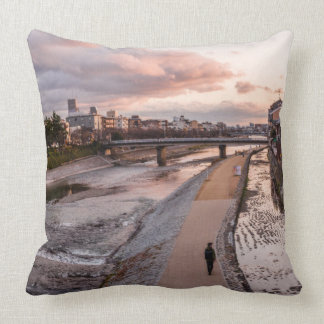 Evening walk along the Kamo River in Kyoto Throw Pillow