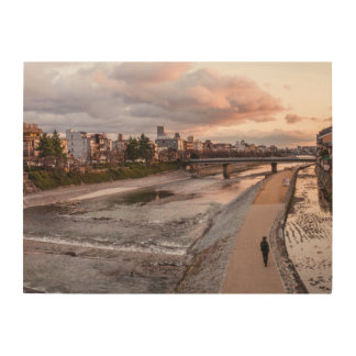 Evening walk along the Kamo River in Kyoto Wood Print