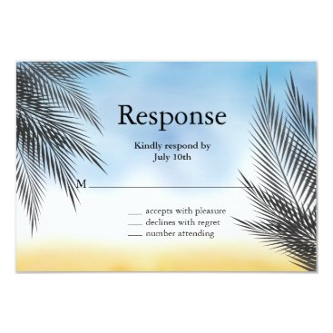 Beach Themed Evening Watercolor Palm Leaves RSVP Card