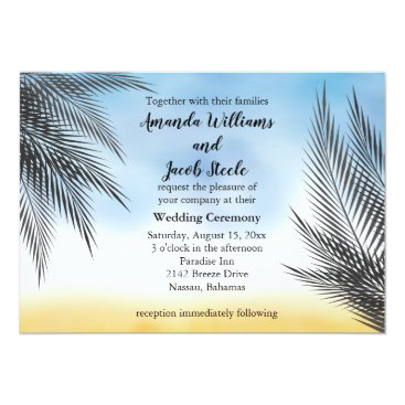 Beach Themed Evening Watercolor Palm Leaves Wedding Invitation