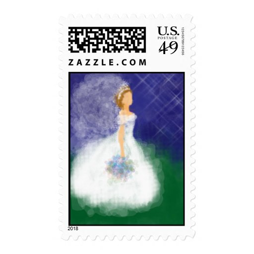 Evening Wedding Bride Postage Stamp