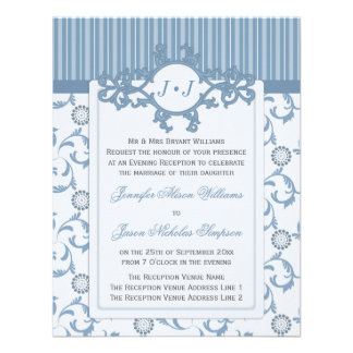 Evening Wedding Invitation in Pale Blue Pattern