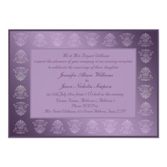 Evening Wedding Invitation Purple Metallic Damask