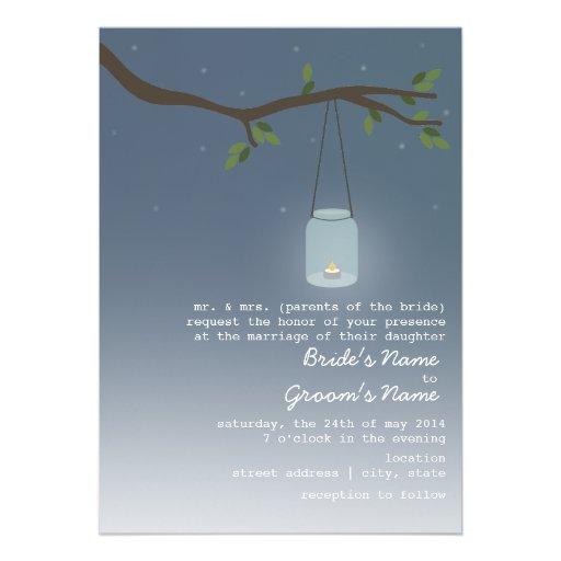 "Wedding Invitation Candles: Mason Jar With Candle 5"" X 7"" Invitation"